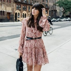 Wayf Blush Floral Mini Dress with Ruffle